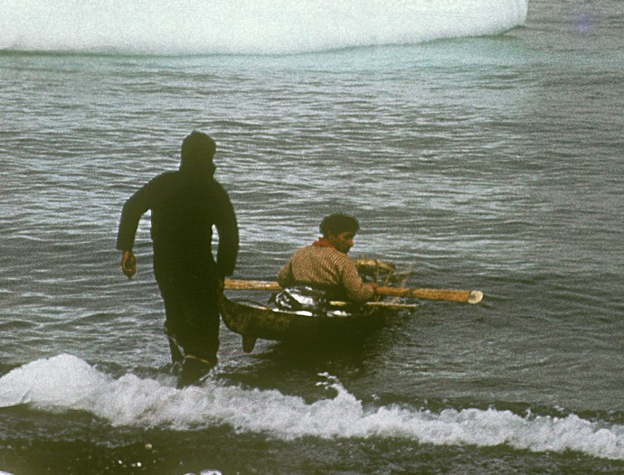 Greenland 1959: Illorsuit, kayak fear man (?) being launched for race.