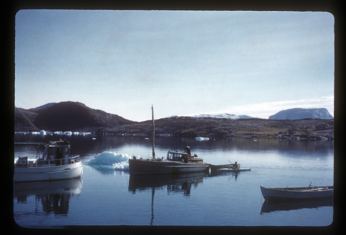 Greenland 1959: Ikerasak, two motor boats in harbor